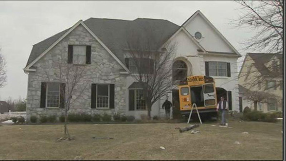 Tragedy Averted - School Bus Crashes into Blue Bell Home